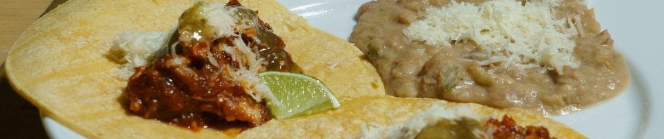 Chicken tinga tacos and refried beans banner photo