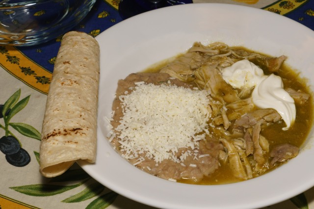 Dinner is served: Chicken Chili Verde with refried beans