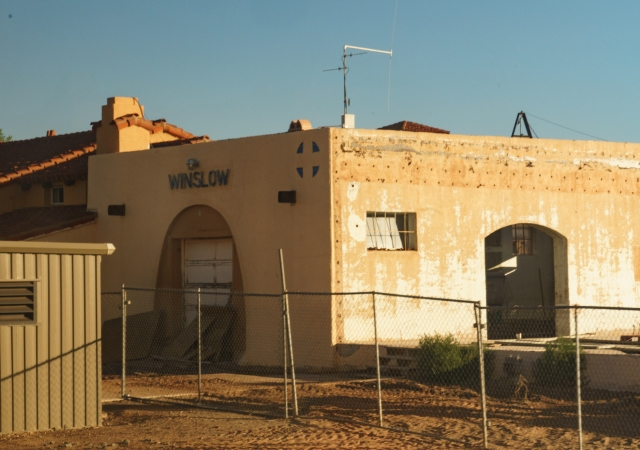 Winslow, Arizona train station under re-construction