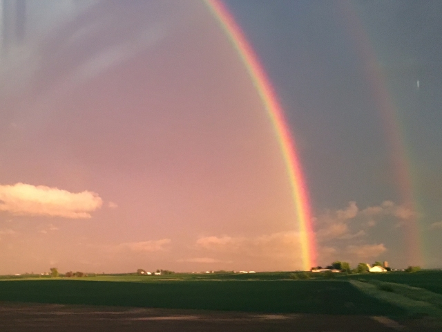 Double rainbow after a storm in the midwest