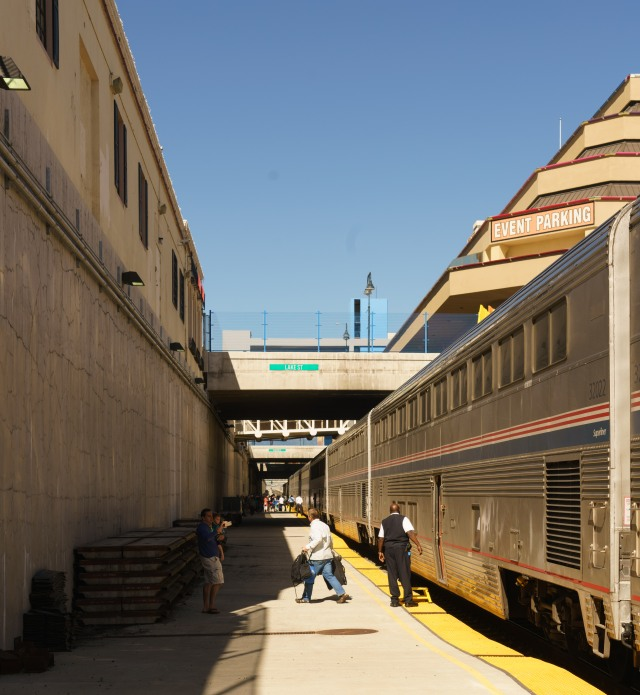 Reno train station is below street grade