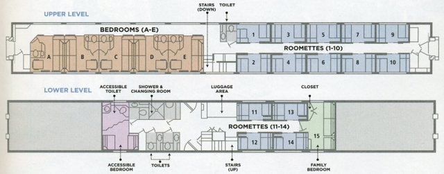 Amtrak SuperLiner sleeper car layout.