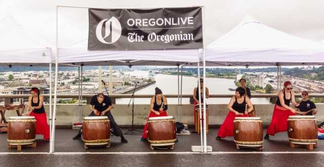Drummers providing entertainment on the Fremont Bridge