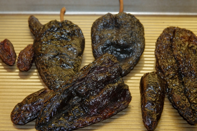 Dried and roasted ancho chiles for posole