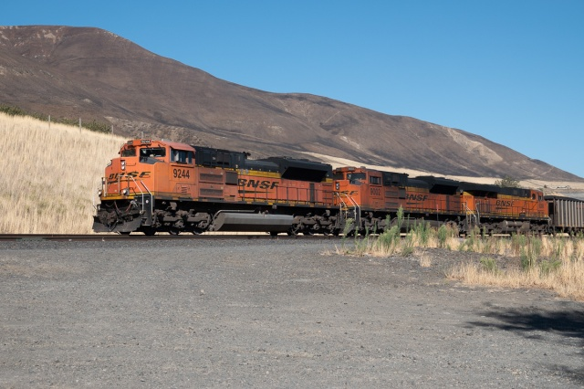 BNSF Coal Train passing Avery Recreational Area, WA. Columbia Gorge