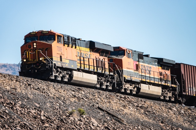 "Close up of the locomotives pulling a BNSF oil train rolling across the ""The Wall"" east of Maryhill, WA"