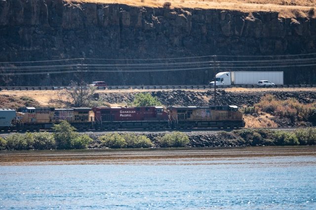 Union Pacific train headed toward Portland, OR on the other side of the Columbia River.